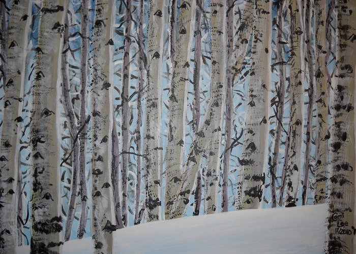 Aspen Greeting Card featuring the painting A Grove Of Aspens by Cami Lee