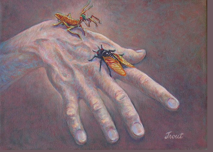 Oil Painting Greeting Card featuring the painting A Hand of Bugs by Don Trout