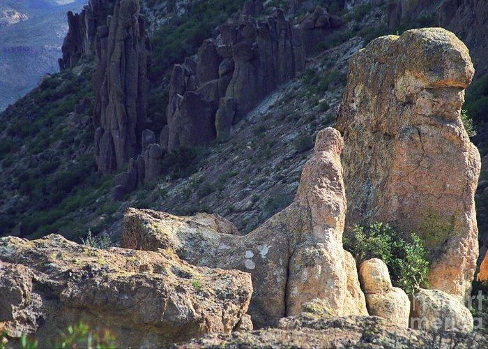 Rock Formations Greeting Card featuring the photograph A Hard Ride by Kathy McClure
