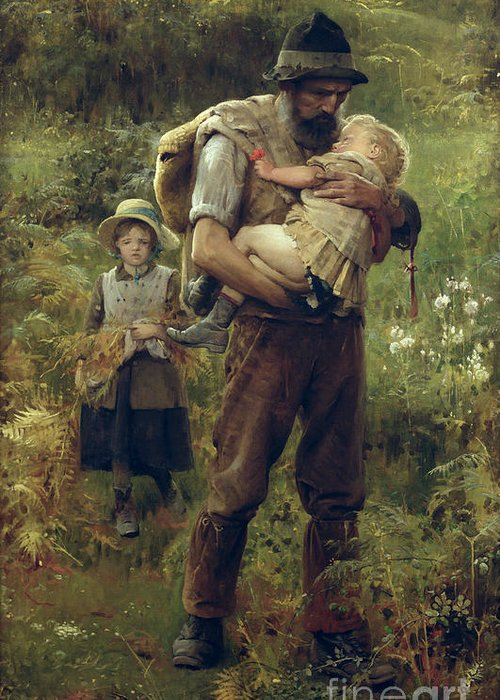 Heavy Greeting Card featuring the painting A Heavy Burden by Arthur Hacker