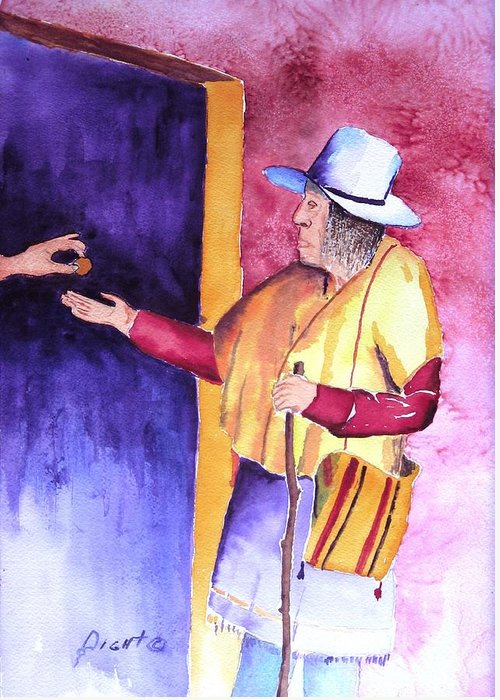Oldman Greeting Card featuring the painting A Helping Hand by Buster Dight