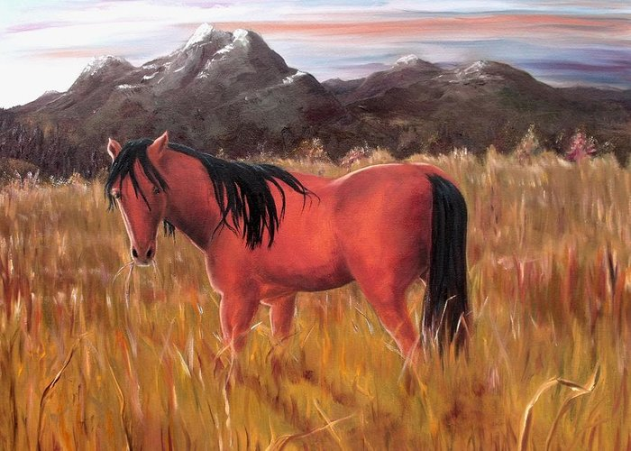Horses Artwork Greeting Card featuring the painting A Horse Of Course by Diane Daigle