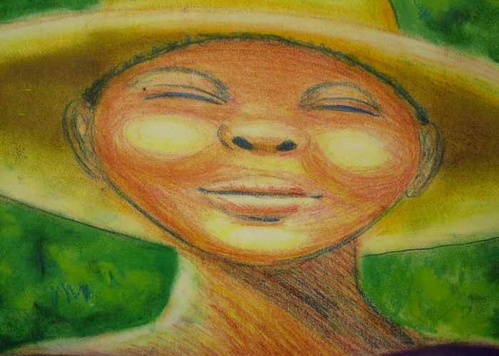 Drawing Greeting Card featuring the drawing A Hot Summer Day by Jan Gilmore