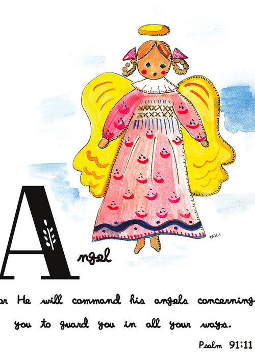 Angel Greeting Card featuring the painting A Is For Angel by Tricia Lowenfield