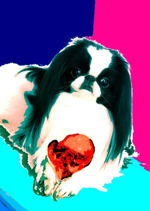 A Japanese Chin And His Toy Greeting Card featuring the digital art A Japanese Chin And His Toy by Kathleen Sepulveda