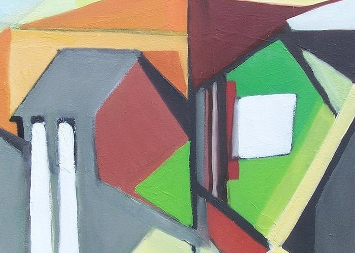 Contemporary Painting Greeting Card featuring the painting A Jersey Abstraction by Ron Erickson