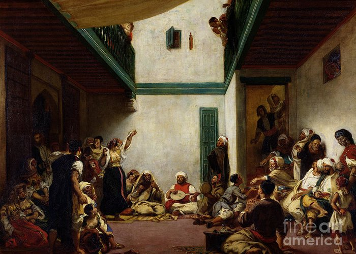 Jewish Greeting Card featuring the painting A Jewish Wedding In Morocco by Ferdinand Victor Eugene Delacroix