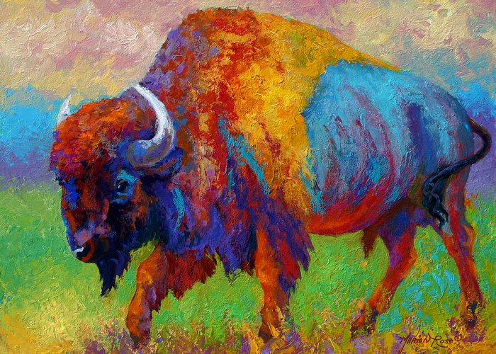 Wildlife Greeting Card featuring the painting A Journey Still Unknown - Bison by Marion Rose