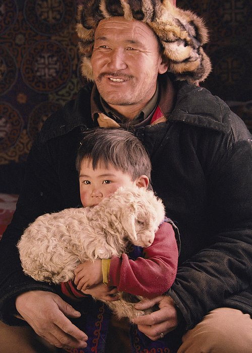 Clothing Greeting Card featuring the photograph A Kazakh Eagle Hunter And His Son by David Edwards