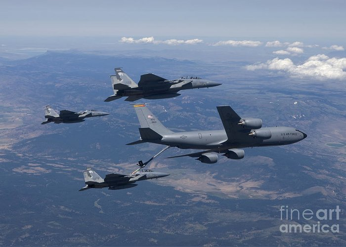 Color Image Greeting Card featuring the photograph A Kc-135r Stratotanker Refuels Three by HIGH-G Productions