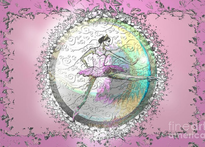 Ballet Greeting Card featuring the digital art A La Second Pink Variation by Cynthia Sorensen