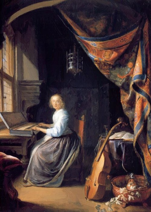 A Greeting Card featuring the painting A Lady Playing The Clavichord by Dou Gerrit