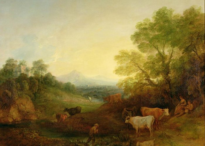 Landscape Greeting Card featuring the painting A Landscape With Cattle And Figures By A Stream And A Distant Bridge by Thomas Gainsborough