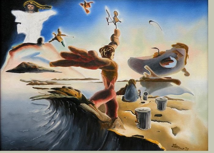 Oil Greeting Card featuring the painting A Last Minute Apocalyptic Education by Dave Martsolf