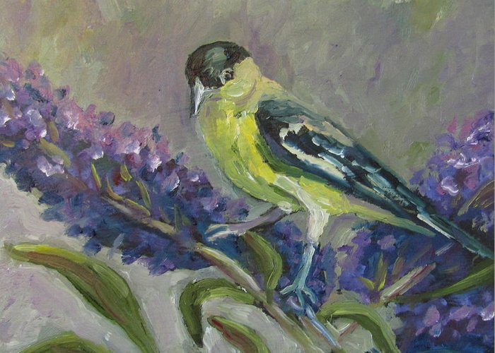 Birds Greeting Card featuring the painting A Lesser Goldfinch by Susan Spohn