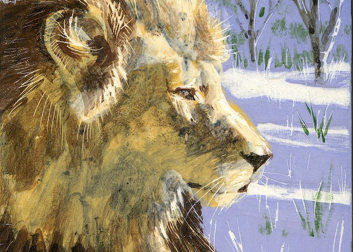 Lion Greeting Card featuring the painting A Lion In Winter by Dy Witt