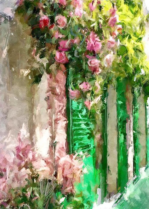 Street Greeting Card featuring the digital art A Little Cozy Street With Roses by Tanya Gordeeva