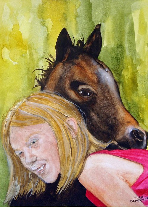 Equine Greeting Card featuring the painting A Little Girl's Fancy by Jean Blackmer
