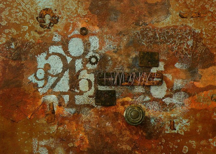 Mixed Media Greeting Card featuring the painting A Little Rusty by Tara Milliken