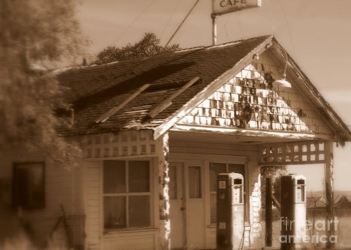 Old Building Greeting Card featuring the photograph A Little Weathered Gas Station by Carol Groenen
