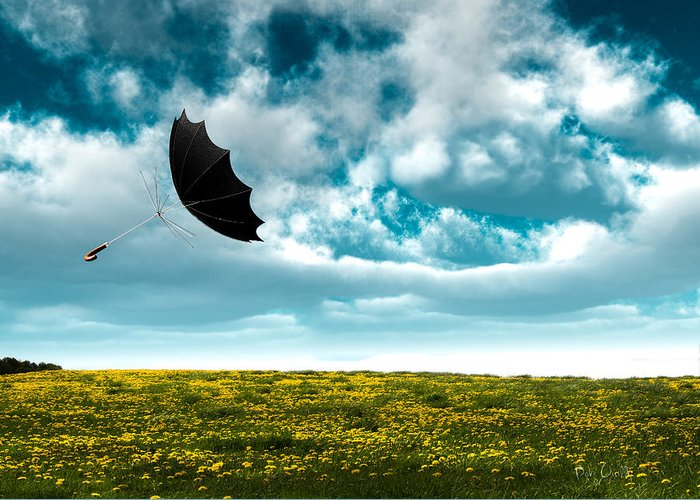 Umbrella Greeting Card featuring the photograph A Little Windy by Bob Orsillo