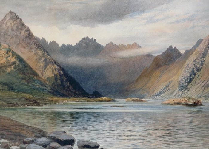 Loch Greeting Card featuring the painting A Loch North Of Hadrian's Wall by Walter Severn