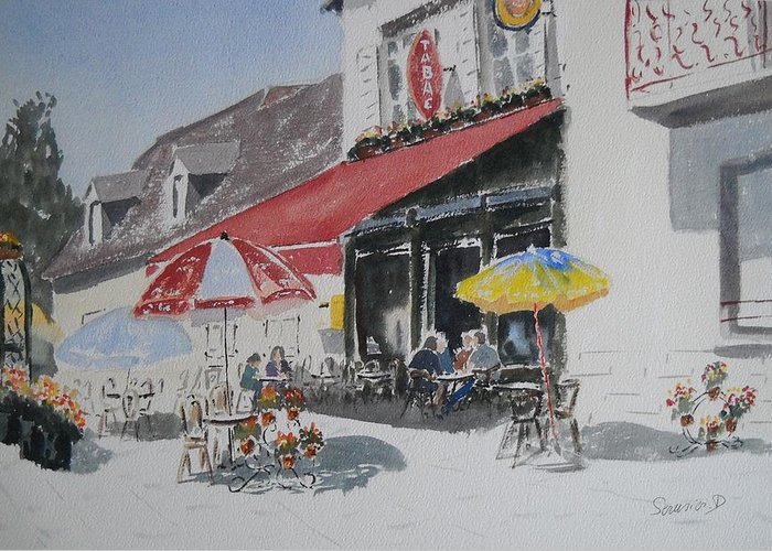 La Terrasse D\'un Cafe Greeting Card featuring the painting A L'ombre D'une Terrasse D'un Cafe Shadow Of An Outdoor Pub by Dominique Serusier