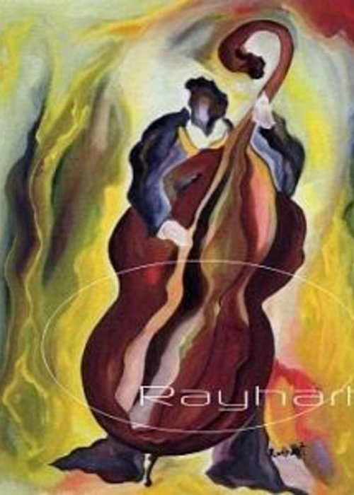 Abstract Musical Expression Greeting Card featuring the painting A Low End Theory - Sold by Artist Rayhart