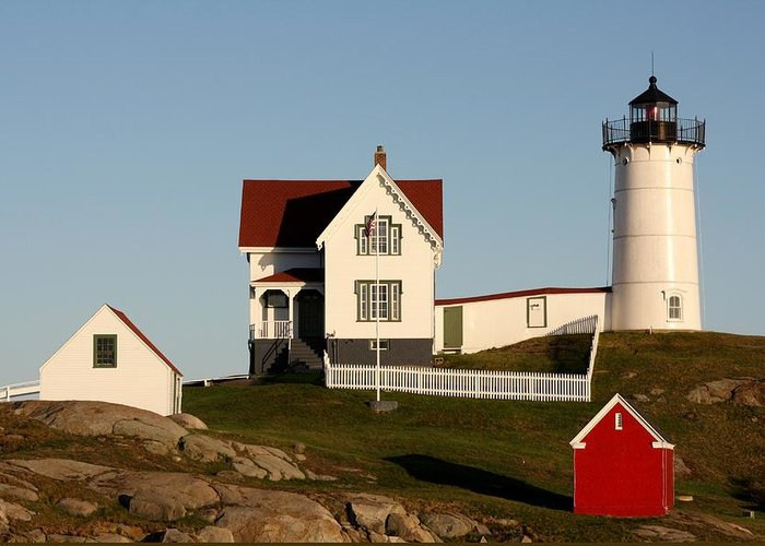 Nubble Lighthouse Greeting Card featuring the photograph A Maine Lighthouse by Mesa Teresita