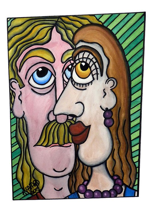 Man Greeting Card featuring the painting A Man And A Woman With Brown Eyes... - Un Homme Et Une Femme Aux Yeux Bruns... by R Fafard