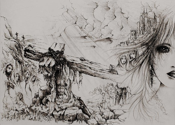 Isaiah 53 Greeting Card featuring the drawing A Man Of Sorrows by Rachel Christine Nowicki