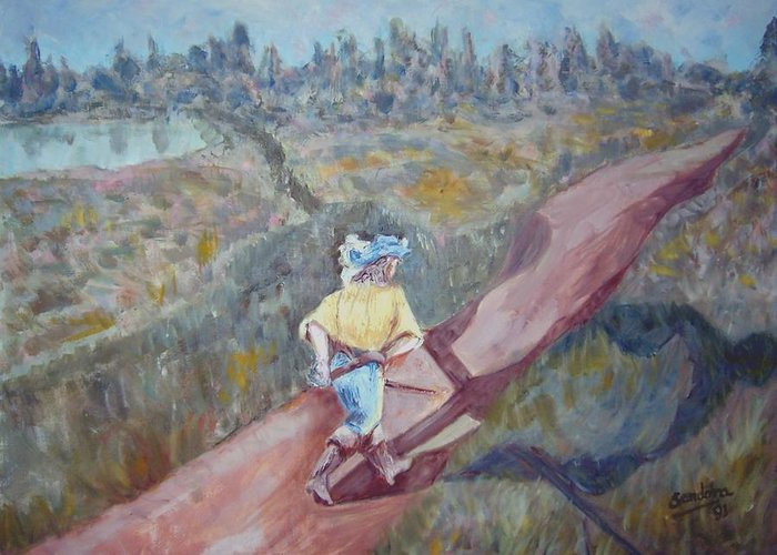 Landscape With Man Greeting Card featuring the painting A Man Walking by Joseph Sandora Jr
