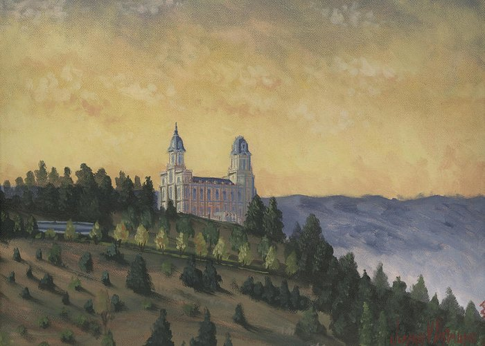 Temple Greeting Card featuring the painting A Manti Morning by Jeff Brimley