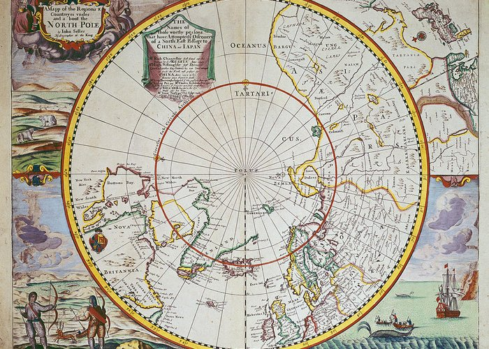 Map Greeting Card featuring the drawing A Map Of The North Pole by John Seller