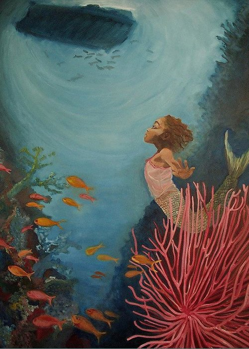 Mermaids Greeting Card featuring the painting A Mermaid's Journey by Amira Najah Whitfield