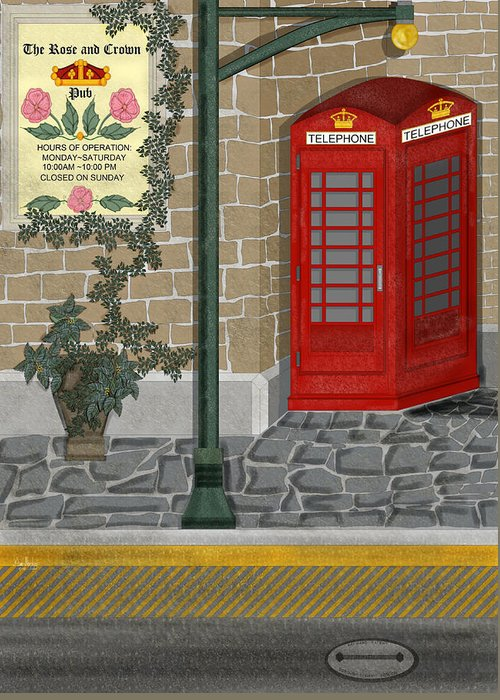 Cityscape Greeting Card featuring the painting A Merry Old Corner In London by Anne Norskog