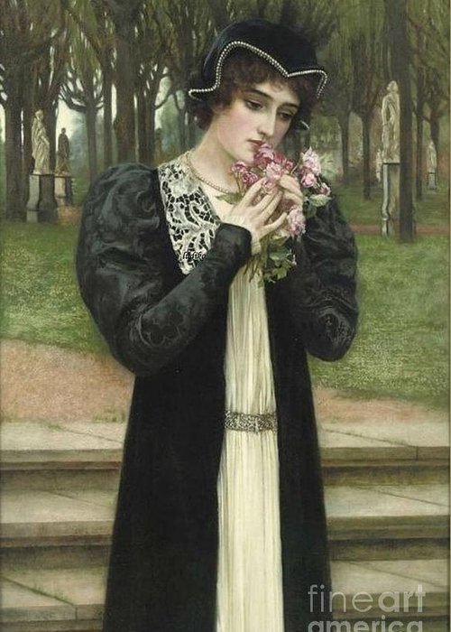Herbert Gustave Schmalz-carmichael - A Message Of Love 1900 Greeting Card featuring the painting A Message Of Love by MotionAge Designs