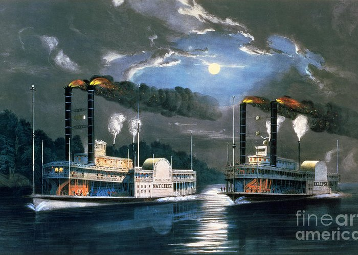 A Midnight Race On The Mississippi Greeting Card featuring the painting A Midnight Race On The Mississippi by Currier and Ives
