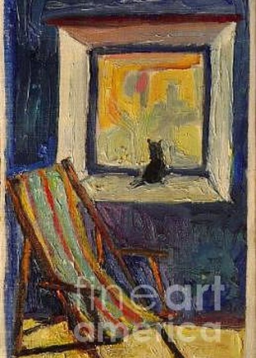 Cat Greeting Card featuring the painting A Minky In The Window by Cassandra Einstein