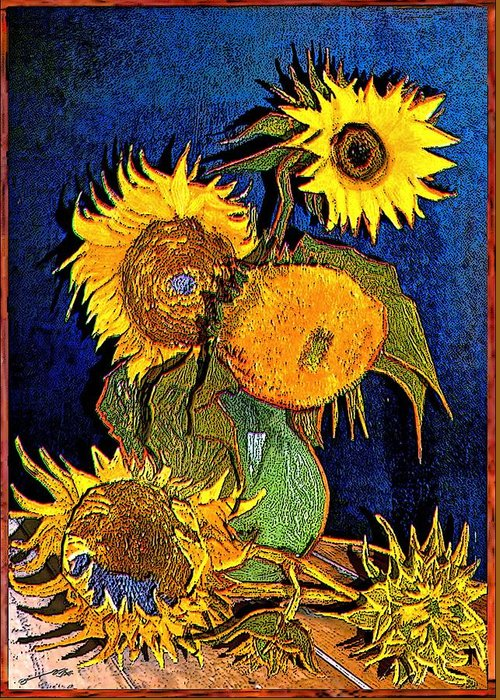 Modern Greeting Card featuring the drawing A Modern Look At Vincent's Vase With 5 Sunflowers by Jose A Gonzalez Jr
