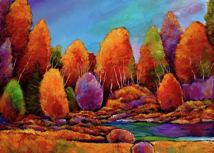 Landscape Greeting Card featuring the painting A Moments Embrace by Johnathan Harris