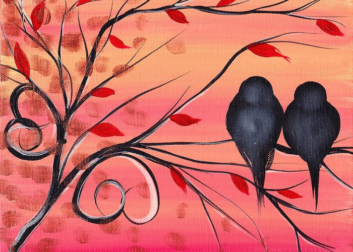 Birds Greeting Card featuring the painting A Morning With You by Abril Andrade Griffith