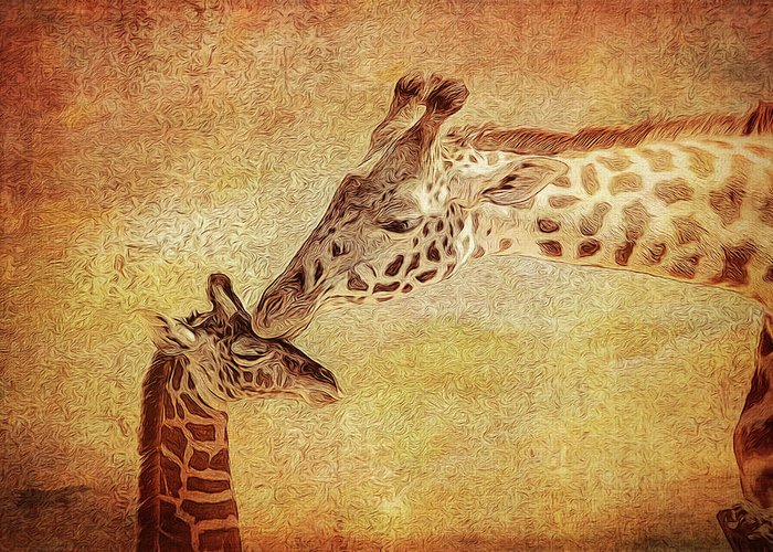 Giraffe Greeting Card featuring the photograph A Mother's Kiss Painted 2 by Judy Vincent