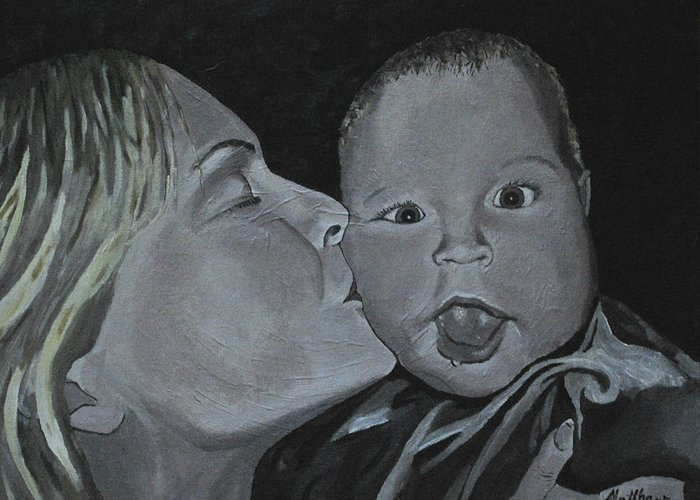 Kiss Greeting Card featuring the painting A Mothers Love by Matthew Fredricey