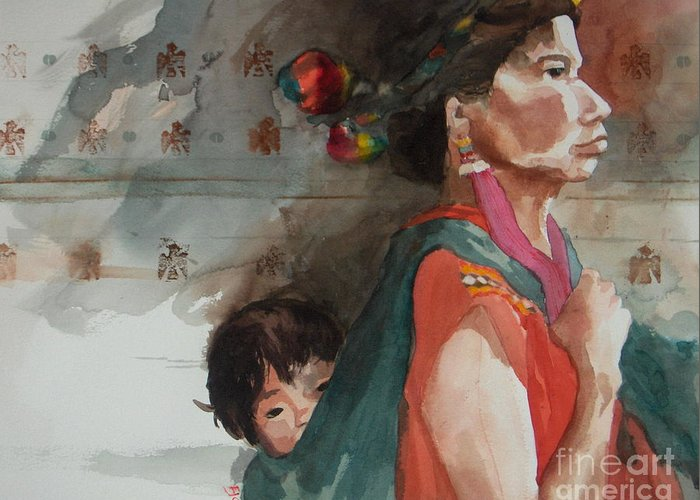 A Native Guatemalan Mother And Child Greeting Card featuring the painting A Mother's Resolve by Elizabeth Carr