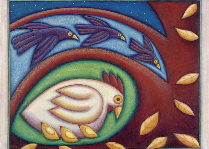 Animal Greeting Card featuring the painting A Mothers Touch by Mary Anne Nagy