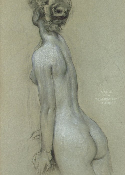 Naiad Greeting Card featuring the drawing A Naiad In The Lament For Icarus by Herbert James Draper