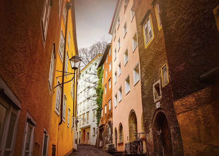 Buildings And Narrow Lanes Greeting Cards