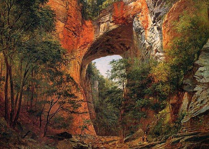 A Natural Bridge Greeting Card featuring the painting A Natural Bridge In Virginia by David Johnson
