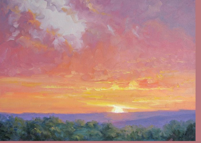 Sunrise Greeting Card featuring the painting A New Dawn by Bunny Oliver